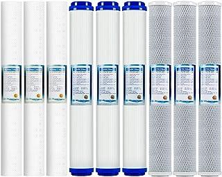 LZH FILTER Lot de 9 Cartouches Filtre à Eau l'Osmose Inverse - 20 Pouces Filtres pour systèmes sous éviers
