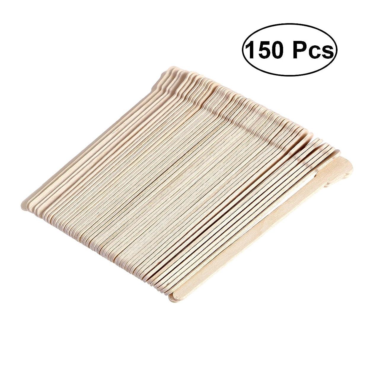 フィット脳玉ねぎSUPVOX 150ピース木製ワックススティックフェイス眉毛ワックスへら脱毛(オリジナル木製色)