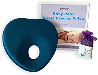 Joyzz Newborn Baby Pillow, Memory Foam Cushion for Flat Head Syndrome & Head Support (Blue) Free Lavender Sachet
