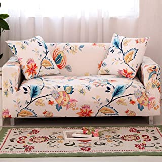HOTNIU 1-Piece Stretch Sofa Couch Covers - Spandex Printed Loveseat Couch Slipcover - Arm Chair Furniture Cover/Protector with One Free Pillowcase (3-Seat Sofa, White Flower)
