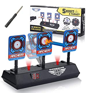Rivvi Targets for Nerf Guns, Automatic Reset Digital Target for Shooting Practice for Kids Compatible for Nerf Blaster Elite/Mega/Rival Series with Light Sound Effect