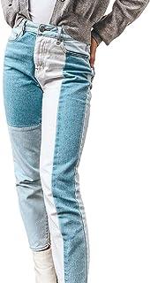 UANOU Contraste Patchwork Jeans Ladies Pantalones lápiz de Cintura Alta Denim Retro Y2k Skinny Jeans Ladies Casual Street ...
