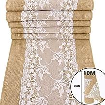 TtS 30cm10M Juteband Spitzenband Overlock-Näh Natürliche Sackleinen weiße Spitze Band Rolle Tischläufer Jutestoff Tischdecke Hochzeits