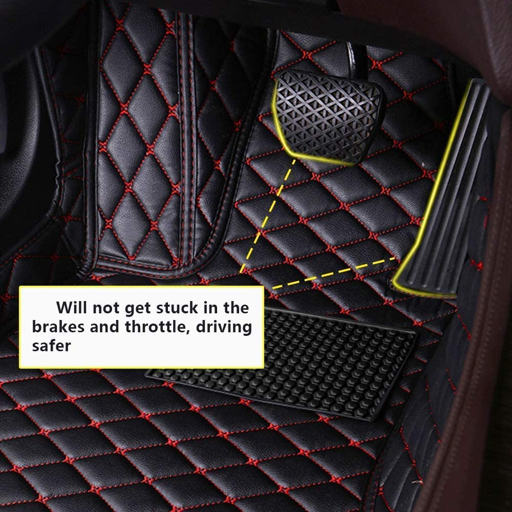 Muchkey Car Floor Mat for Porsche Panamera 2014-2016 Full Coverage Interior Protection Leather Mat Black Red