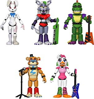 Funko Action Figures! Set of 5 - Five Nights at Freddys - Security Breach - Pizzaplex - Glamrock Chica, Glamrock Freddy, Montgomery Gator, Roxanne Wolf and Vanny