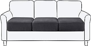 subrtex Spandex Elastic Couch Cushion Covers Stretch Chair Slipcover Furniture Protector for Sofa Seat Cushion (3 Piece, Sofa Cushion, Grey)