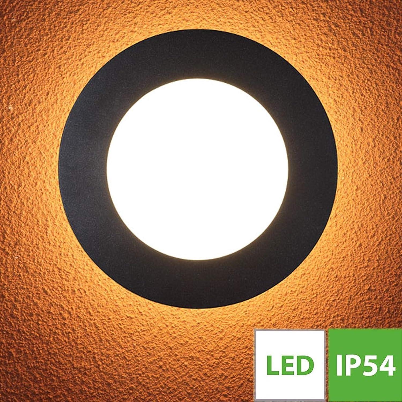 15W Runde LED Auenleuchte, Auen-Deckenbeleuchtung, IP54 Wasserdichte Auenlampe, Wand-Auenleuchte, Lackiertes Aluminium,1-flammig, 260mm im Durchmesser, Schwarz - 3000k Warm Licht