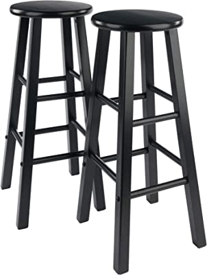 Amazon Com Winsome 29 Inch Square Leg Bar Stool Black Set Of 2 Furniture Decor