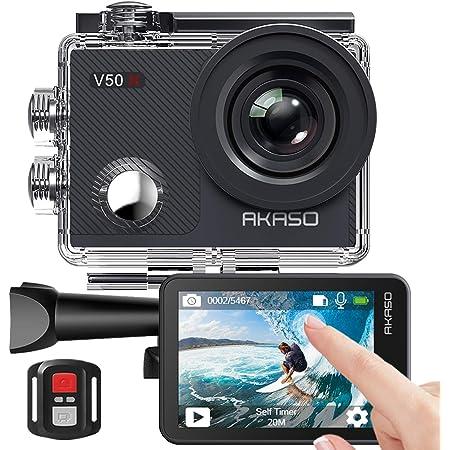 Caméra Sport 4K Etanche WiFi – AKASO Action Caméra Sportive Ultra Full HD Stabilisateur avec Télécommande Écran Tactile 30fps Angle Réglable 131 Pieds sous Marine 2 Batteries Kit d'Accessoires – V50X