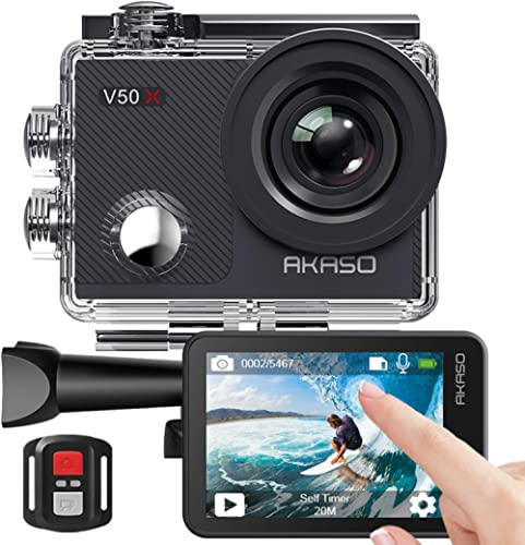 Caméra Sport 4K Etanche WiFi – AKASO Action Caméra Sportive Ultra Full HD Stabilisateur avec Télécommande Écran Tacti...