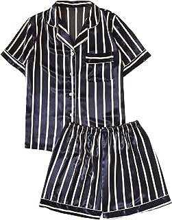 SweatyRocks Women's Satin Collar Floral Short Sleeve Button Down 2 Piece Pajama Set