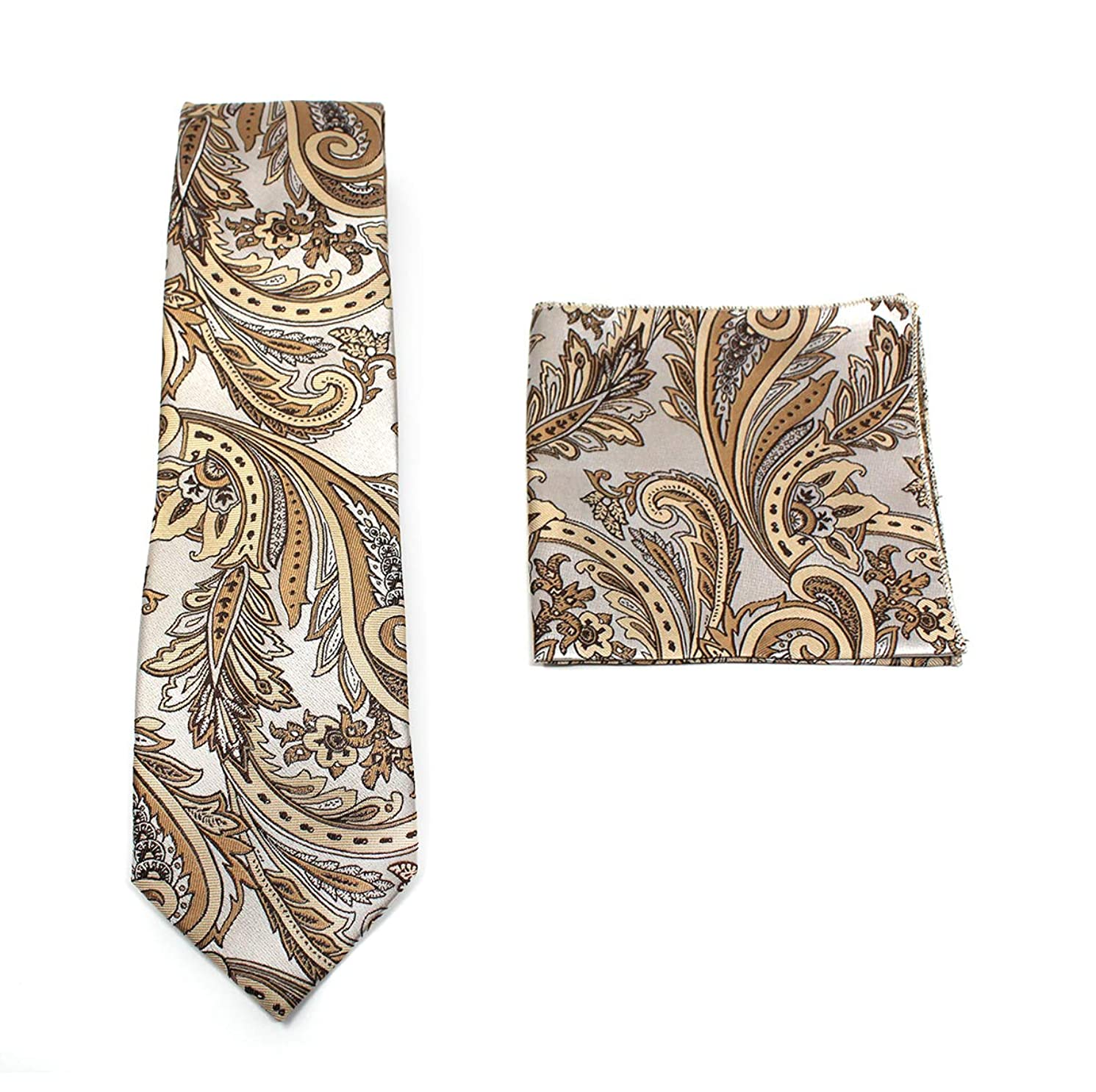 C. ALLEN Paisley Tie Handkerchief Woven Classic Men's Necktie & Pocket Square Set
