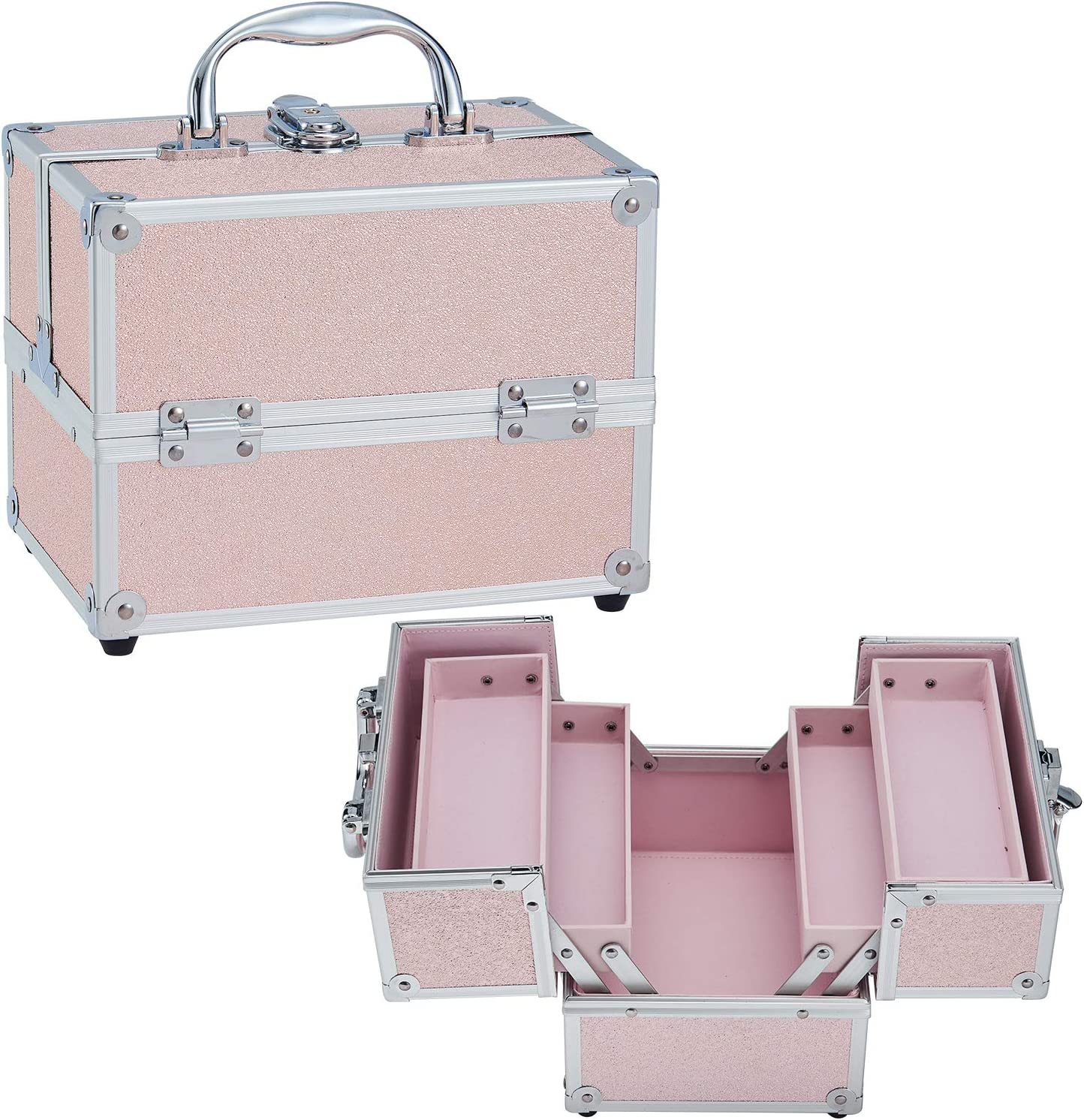 Costravio Portable Makeup Train Case Cosmetic - Fixed price for Limited time trial price sale 4 Tier Box Trays