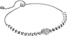 Pave Hearts Tone and Clear Crystal Bead Slider Bracelet