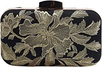 Womens Flower Embroidered Satin Evening Clutch Vintage Wedding Formal Party Purse Bag