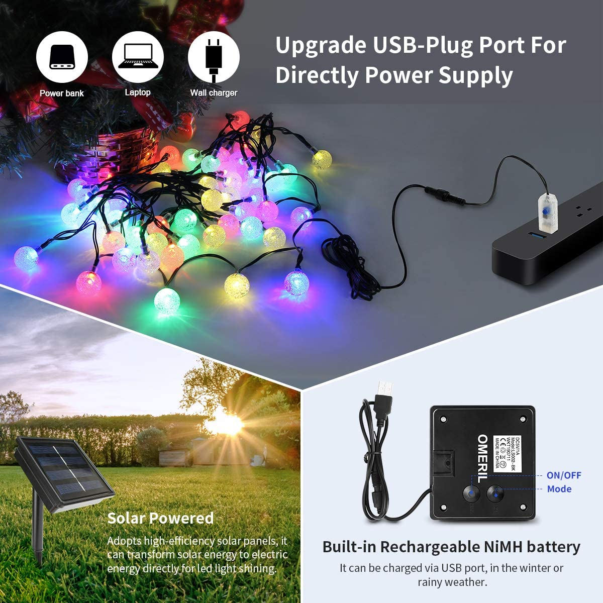 Dual Solar Powered/USB Powered String Lights for Home,Garden,Patio ...