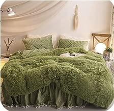 Little-Goldfish Luxury Plush Shaggy Duvet Cover Set Quilted Pompoms Fringe Ruffles Bedskirt Pillow Shams Bedding Set Twin Full Queen King 4/6Pcs,Bedding Set 8,1.6M Queen Size 6Pcs