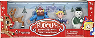 Rudolph the Red Nosed Reindeer Christmas Figurines – 4 Pieces, 2 Inch Plastic Figurine Set – Includes Rudolph, Yukon Cornelius, Hermey – Ideal for Holiday Decorating, Cake Toppers and Playtime