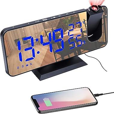 Reveil Projecteur Plafond, Réveil Numérique LED avec Fonction Radio FM, Réveil Matin avec Port de Chargement USB, 2 Réveils,