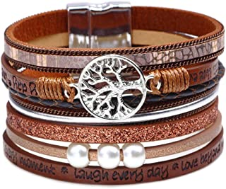 Y&M Boho Wrap Inspirational Cuff Bracelet Leather Bangel with Pearl Tree of Life Personalized Engraved Gift for Women Teen Girl Boy