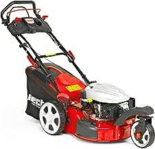 Cortacésped de gasolina 5483SWE, de Hecht, cortacésped de 3 ruedas + función de inicio eléctrico, 3kW (5.0CV), ancho de corte de 46cm, volumen de la cesta de 60litros, ajuste de 6alturas, de 25a75mm, tracción por ruedas