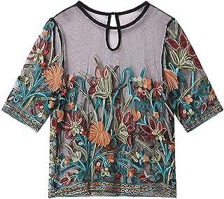 TIFIY Magliette per Le Donne, Maglia a Maniche Corte in Maglia a Maniche Corte con Ricamo a Maglia Magliette Donna Elegante