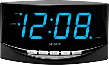 """SHARP Easy to See Alarm Clock with Jumbo 2"""" Numbers - Bright Blue LED Display - Easy Set-up & Simple to Use – High/Low Alarm Volume"""