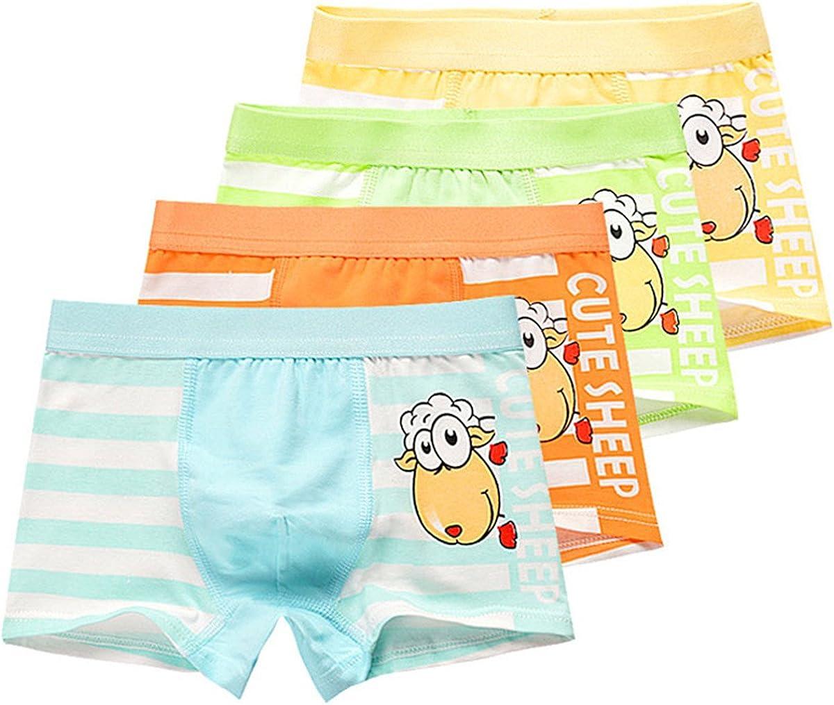 JELEUON Little Kids Boys Cartoon Print Boy-Leg Shorts Briefs Underwear Boxer Panties 4 Pack