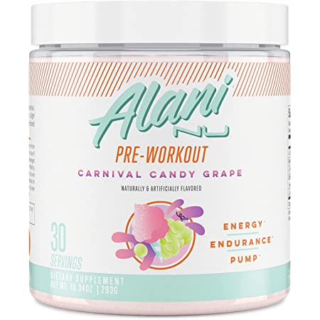 Alani Nu Pre Workout Energy Powder for Men & Women, Pre-Workout Supplement w/30 Servings, 10.55 OZ, 299 GÖ (Carnival Candy Grape)