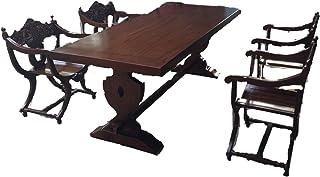 Juego de mesa de comedor con 6 sillas de tijera y 1 mesa de madera maciza de 220 cm, estilo barroco medieval
