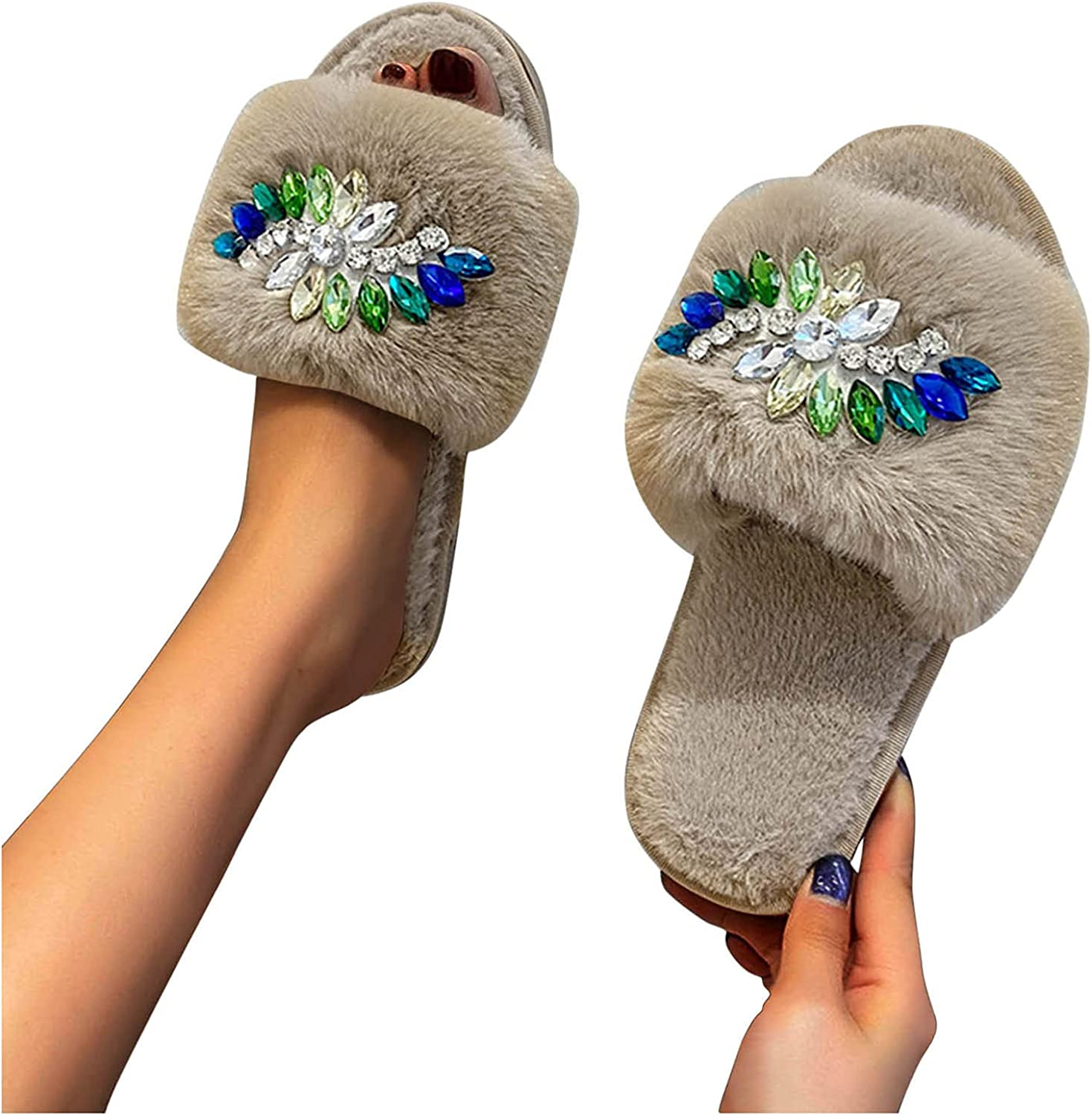 Memphis Mall Hunauoo Slippers for Women Home Rhinestone Thick Free Shipping New Furry