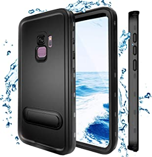 Samsung Galaxy S9 Waterproof Case, Shockproof Dustproof Snowproof Hard Shell Full-Body Underwater Protective Box Rugged Cover with Kickstand and Built in Screen Protector for Galaxy S9 (Black)