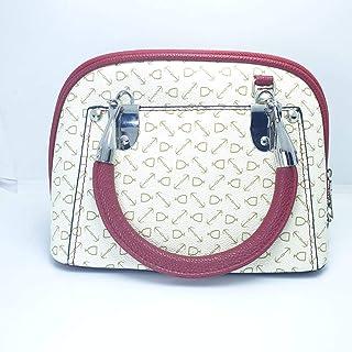Women's handbag is white and red