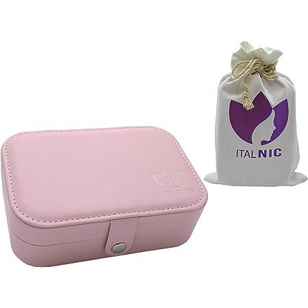 ITALNIC Portagioie Cofanetto Portagioielli da Donna Organizzatore Box da Viaggio Scatola Custodia Piccola Gioielleria per Anelli Orecchini Collane Bracciali 2 Strati 16,5 X 11,5 X 5,5 cm Rosa