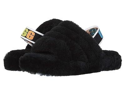 UGG Kids Fluff Yeah Slide (Little Kid/Big Kid) (Black Rainbow) Girls Shoes
