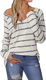 YOINS Suéter Punto Mujer Invierno Jersey Cuello en V Camiseta Manga Larga Jerséis Basico Suelto Jerseys Camisa Mujer Prima...