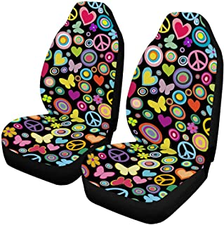 INTERESTPRINT Flowers Hearts Butterflies Peace Signs Auto Seat Covers Full Set of 2, Bucket Seat Protector Car Seat Cushions for Car, SUV, Truck or Van