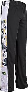 JL Sport Pantalones Auténtica Brasileña Capoeira Artes Marciales para Chicos (Negro con Berimbau Imprimir A Lo Largo De Bein)