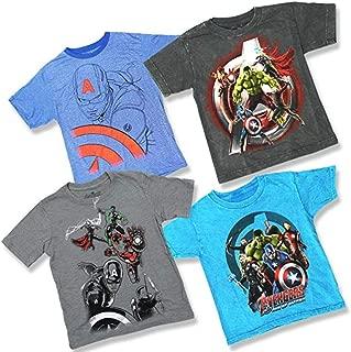 Marvel Comics Boys Youth Super Heroes 4 Pack T-Shirt Bundle Avengers Captain America Iron Man Thor Hulk (Large (10/12))