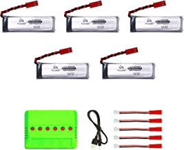 5pcs 3.7V 500mAh Rechargeable Li-Po Batteries with 6in1 Charger Compatible with UDI U818A, U818A-1 U817 U817A RC Drone NOT Compatible with U818A WiFi FPV Discover Model (500mah)