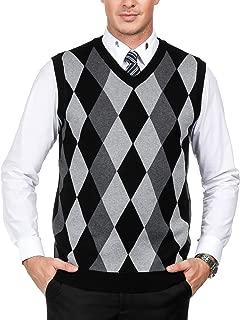 PAUL JONES Men's Classic V-Neck Argyle Sweater Vest Lightweight Pullover Vest