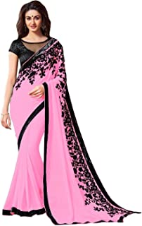TRYme Fashion Women's Georgette Saree with Blouse Piece (New Collection Sari W24_Pink_Free Size)