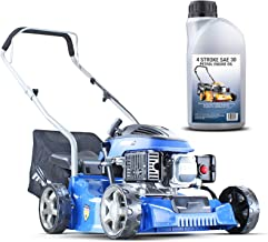 Hyundai Lightweight 40cm 79cc 4 Stroke Push Rotary Petrol Lawnmower, 7 Cutting Central Height Adjustment Lawn Mower, Rust ...