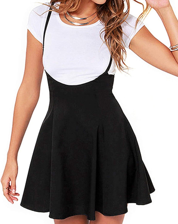 Springcmy Women's Suspender Skirts Basic High Waist Versatile Flared Skater Ruffle Hem Flared Skirt Overall Dress