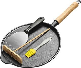 Kommersiella verktyg gjutjärnspanna, stor crepe pan 29 cm nonstick beläggning Easy pannkakor omelett stekt ägg tortilla