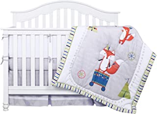 TILLYOU Luxury 8 Pieces Woodland Crib Bedding Set (Crib Bumpers, Quilt, Crib Sheets, Crib Skirt) - Fox Microfiber Nursery Bedding Set for Boys Girls, Pale Gray