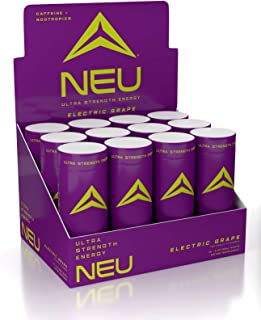 NEU Extra Strength Nootropic Energy Shots, Energy Drink: Brain Booster Focus Supplement, Coffee Alternative Nutritional Drink + Keto Energy Pre Workout with Zero Sugar - Electric Grape 2oz (12 Shots)