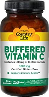 Country Life Buffered Vitamin C 1,000mg with Bioflavonoids & Rose Hips - Natural Antioxidant Protection & Immune System Health Support - Non-GMO, Gluten-Free, Vegan - 250 Tablets