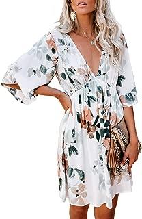 Womens Deep V Neck Hawaiian Boho Floral Print Dress Sundress