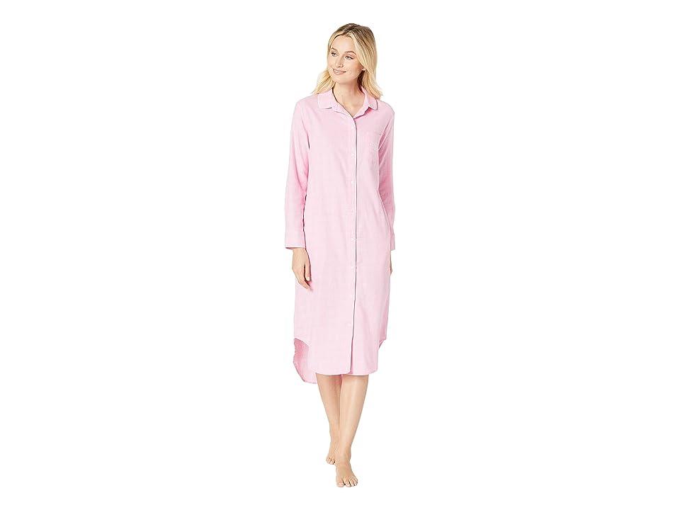 LAUREN Ralph Lauren Long Sleeve Rounded Collar Ballet Sleepshirt (Pink Plaid) Women
